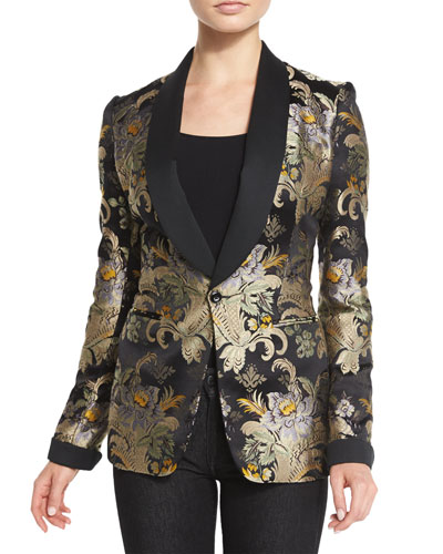 Baroque-Print Brocade Jacket, Black/Gold