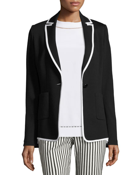 Contrast-Trim Milano Knit Jacket, Caviar/Bianco