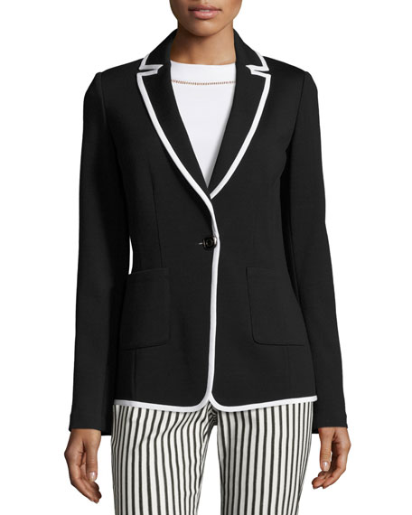 St. John Collection Contrast-Trim Milano Knit Jacket,