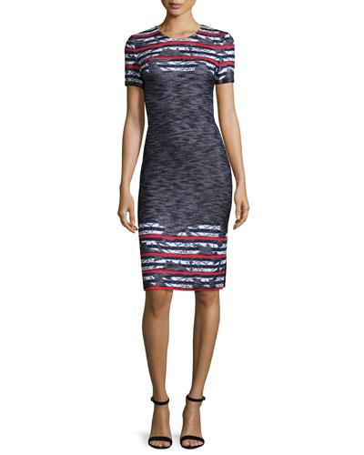 Anguilla Floral-Jacquard Short-Sleeve Dress, Caviar/Multi