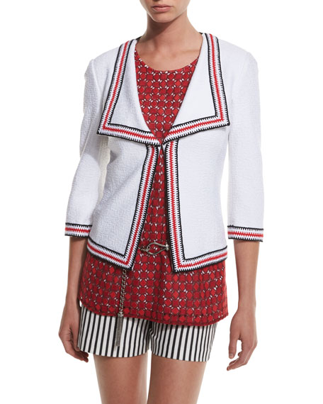 St. John Collection Clair Striped-Trim 3/4-Sleeve Jacket,