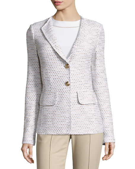 St. John Collection Caillou Tweed Rever-Collar Blazer, Sand/Multi