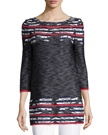 St. John Collection Anguilla Floral-Jacquard 3/4-Sleeve Tunic,