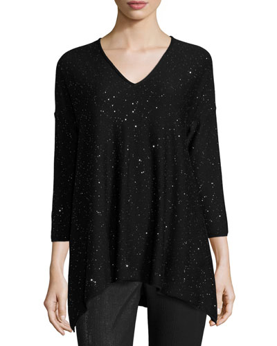 Bristol V-Neck 3/4-Sleeve Sweater, Caviar/Silver