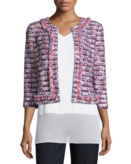 Montserrat Fringe-Trim Tweed Jacket, Bianco/Multi