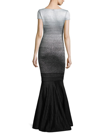Metallic Degrade Peekaboo Cap-Sleeve Gown, Caviar/Gray/Silver