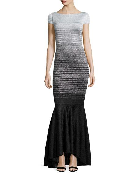 St. John Collection Metallic Degrade Peekaboo Cap-Sleeve Gown,