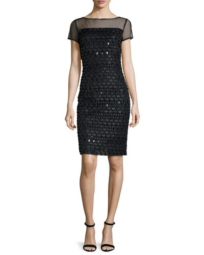 Short-Sleeve Beaded Chiffon Dress, Caviar/Multi