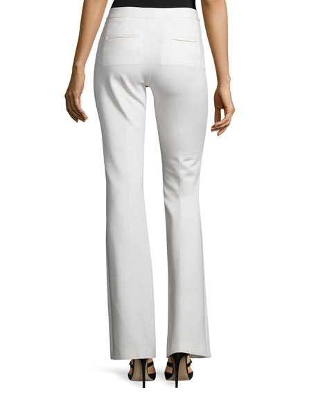 Flat-Front Flared Pants, Ivory