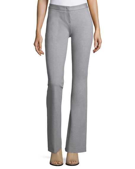 Derek Lam Flat-Front Flared Pants, Heather Gray
