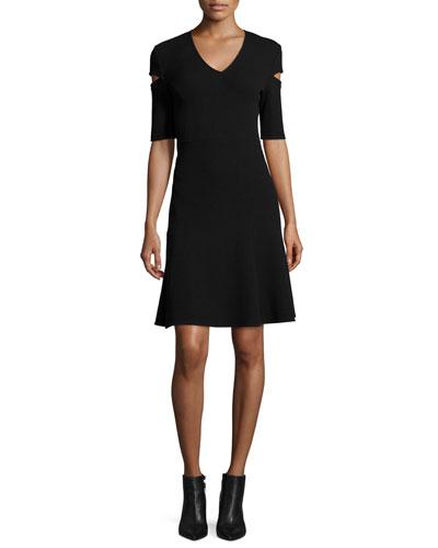 V-Neck Cutout-Sleeve Dress, Black