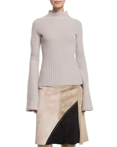 Ribbed Turtleneck Sweater, Quartz