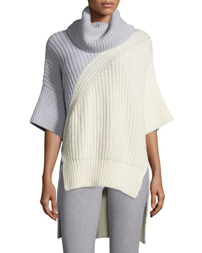 Bicolor Turtleneck 3/4-Sleeve Sweater, Ivory/Pale Gray