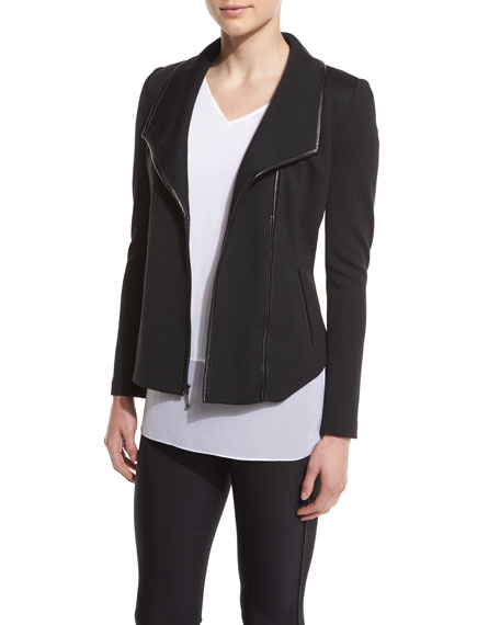 St. John Collection Leather-Trim Shawl-Collar Jacket, Caviar