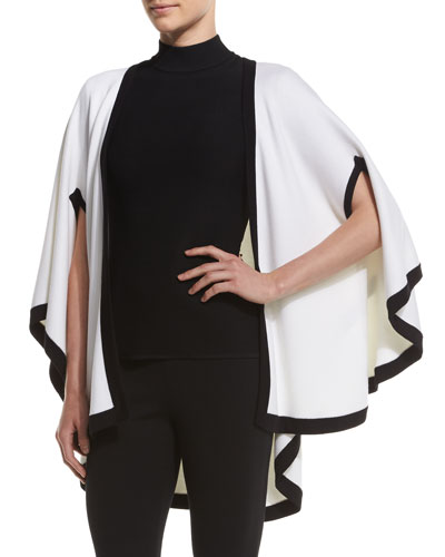 Engineered Nautical Knit Cape, Bianco/Caviar