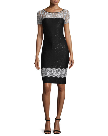 St. John Collection Lace-Trim Sequined Knit Short-Sleeve Dress,