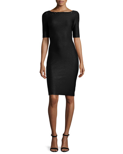 Shimmery Half-Sleeve Sheath Dress, Caviar