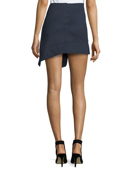 Asymmetric Trompe l'Oeil Mini Skirt, Navy