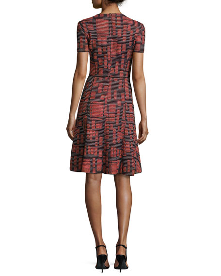 Villa Geo-Knit Short-Sleeve Fit-&-Flare Dress, Caviar/Hibiscus/Multi