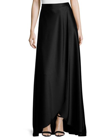 Liquid Satin Faux-Wrap Gown Skirt, Caviar
