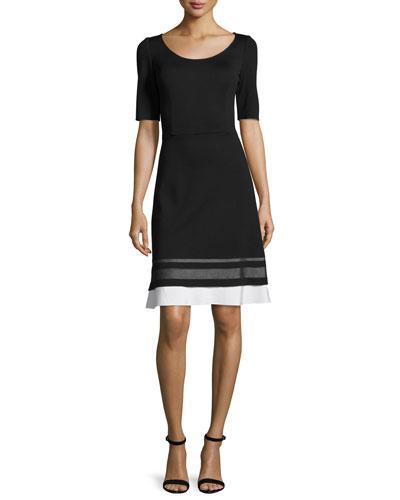 Striped-Trim Milano Knit Half-Sleeve Dress, Caviar/Bianco