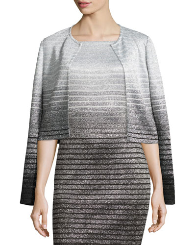Metallic Degrade Peekaboo Jacket, Caviar/Gray/Silver