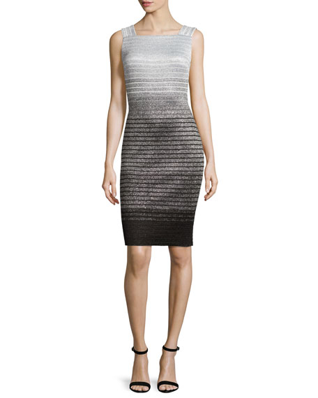 St. John Collection Metallic Degrade Peekaboo Sleeveless Dress,