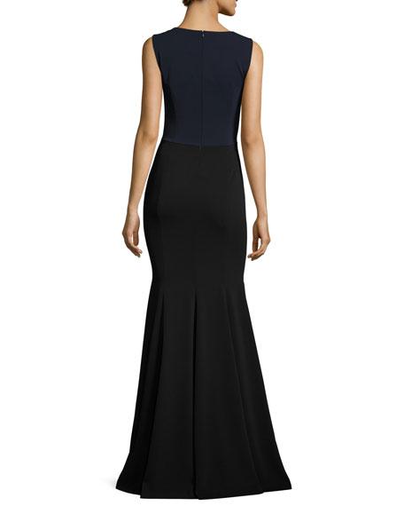 Classic Cady Stretch Mermaid Gown, Caviar/Multi