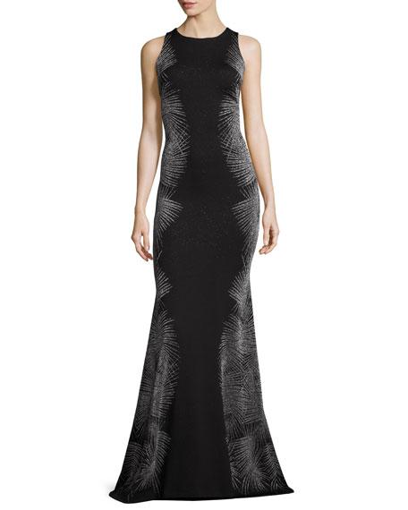 Metallic Palm Sleeveless Mermaid Gown, Caviar/Gunmetal