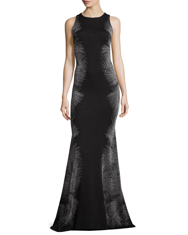 St. John Collection Metallic Palm Sleeveless Mermaid Gown, Caviar ...