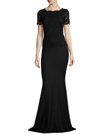 Rumba Knit Lace-Bodice Short-Sleeve Gown, Caviar