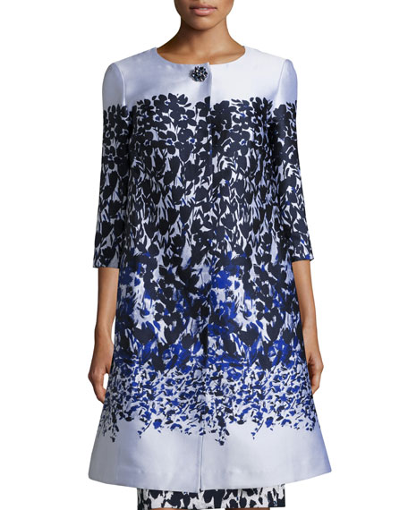 Blue Jasmine Floral 3/4-Sleeve Topper, Bianco/Navy