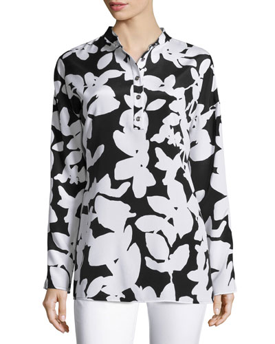 Abstract Floral-Print Dolman Blouse, Caviar/Bianco