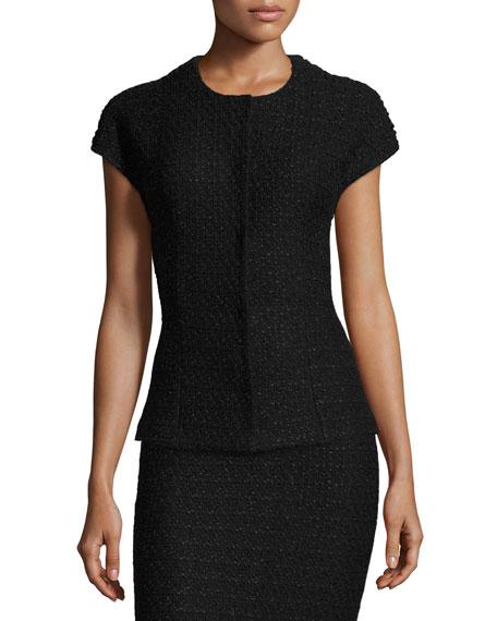 Papier Knit Cap-Sleeve Jacket, Caviar