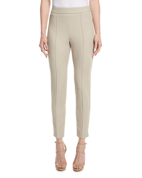 St. John Collection Emma Stretch-Pique Ankle Pants, Quartz