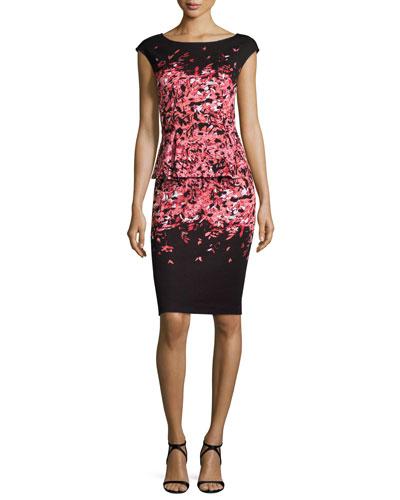 Degrade Floral Jacquard Cap-Sleeve Peplum Dress, Caviar/Multi