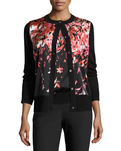 Floral Satin-Front Knit Cardigan, Caviar/Multi