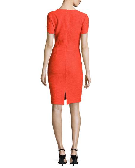 Catalina Knit V-Neck Short-Sleeve Dress, Tangerine