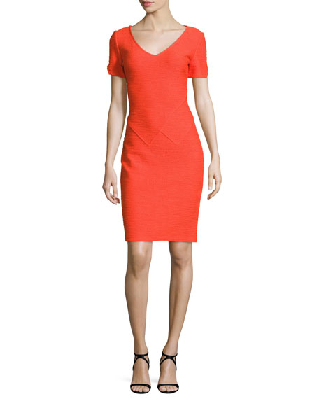St. John Collection Catalina Knit V-Neck Short-Sleeve Dress,