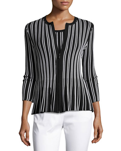 Kiklos Striped Zip-Front Jacket, Caviar/Bianco
