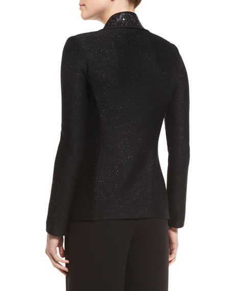 St. John Collection Shimmery Twill Knit Jacket, Caviar