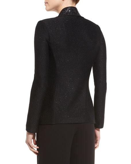 Shimmery Twill Knit Jacket, Caviar