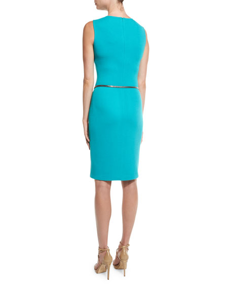 Milano Pique Knit Jewel-Neck Sheath Dress, Laguna