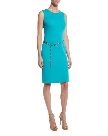 St. John Collection Milano Pique Knit Jewel-Neck Sheath