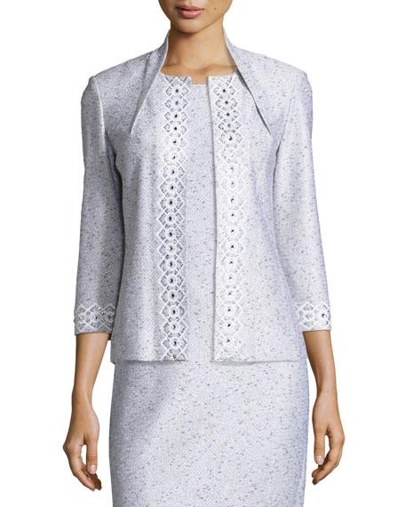 Sparkle Twilight Knit 3/4-Sleeve Jacket, Silver/Multi