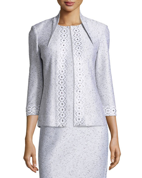 St. John Collection Sparkle Twilight Knit 3/4-Sleeve Jacket,