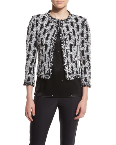 Paillette Fringe Knit Jacket, Caviar/Bianco/Multi