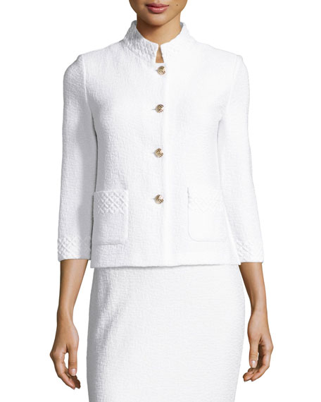 Clair Lace-Trim 3/4-Sleeve Jacket, Bianco