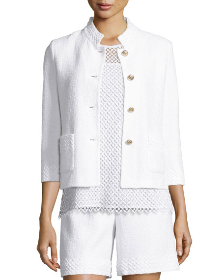 St. John Collection Clair Lace-Trim 3/4-Sleeve Jacket, Bianco