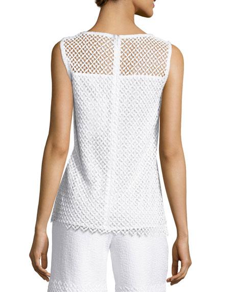 Pinwheel Guipure Lace Shell, Bianco